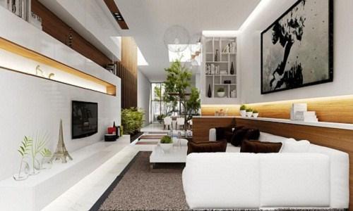 Phòng khách chật hẹp, gia chủ nên tận dụng các góc nhà bằng cách đặt bình phong, kệ hay chậu cây xanh..