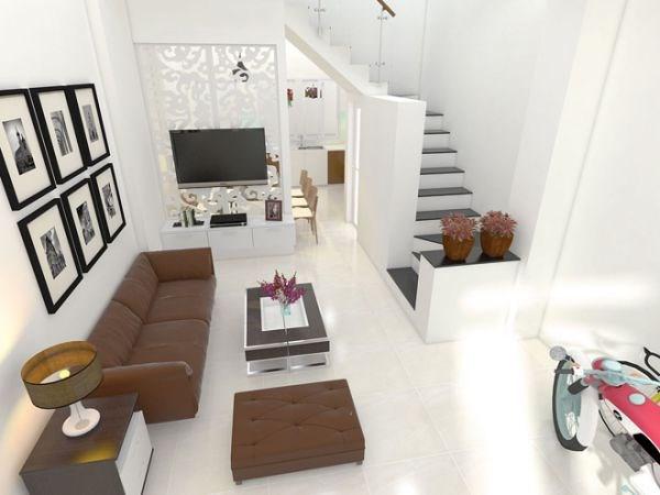 Thiết kế phòng khách liền nhà bếp.