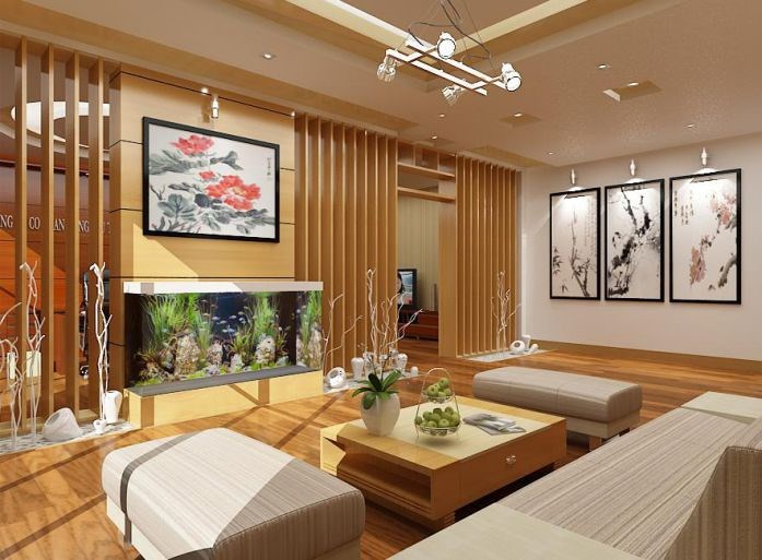 Phòng khách hiện đại với kiến trúc sinh động.