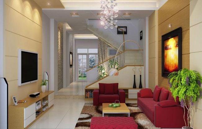 Vài chậu cây xanh tạo cảm giác trong lành cho phòng khách