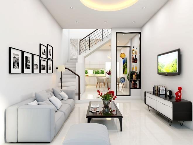 Với đặc điểm không gian nhỏ, hẹp, phòng khách nhà ống cần có sự bài trí đơn giản để tránh mang lại cảm giác chật chội