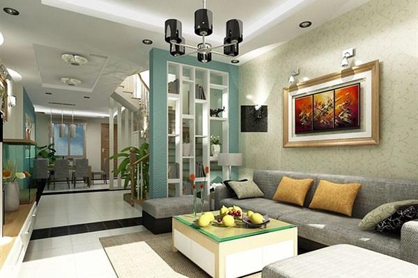 Phòng khách hiện đại với nhiều màu sắc nhưng không lòe loẹt