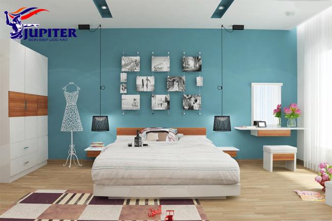 Màu sơn xanh nhẹ nhàng cho nội thất căn phòng