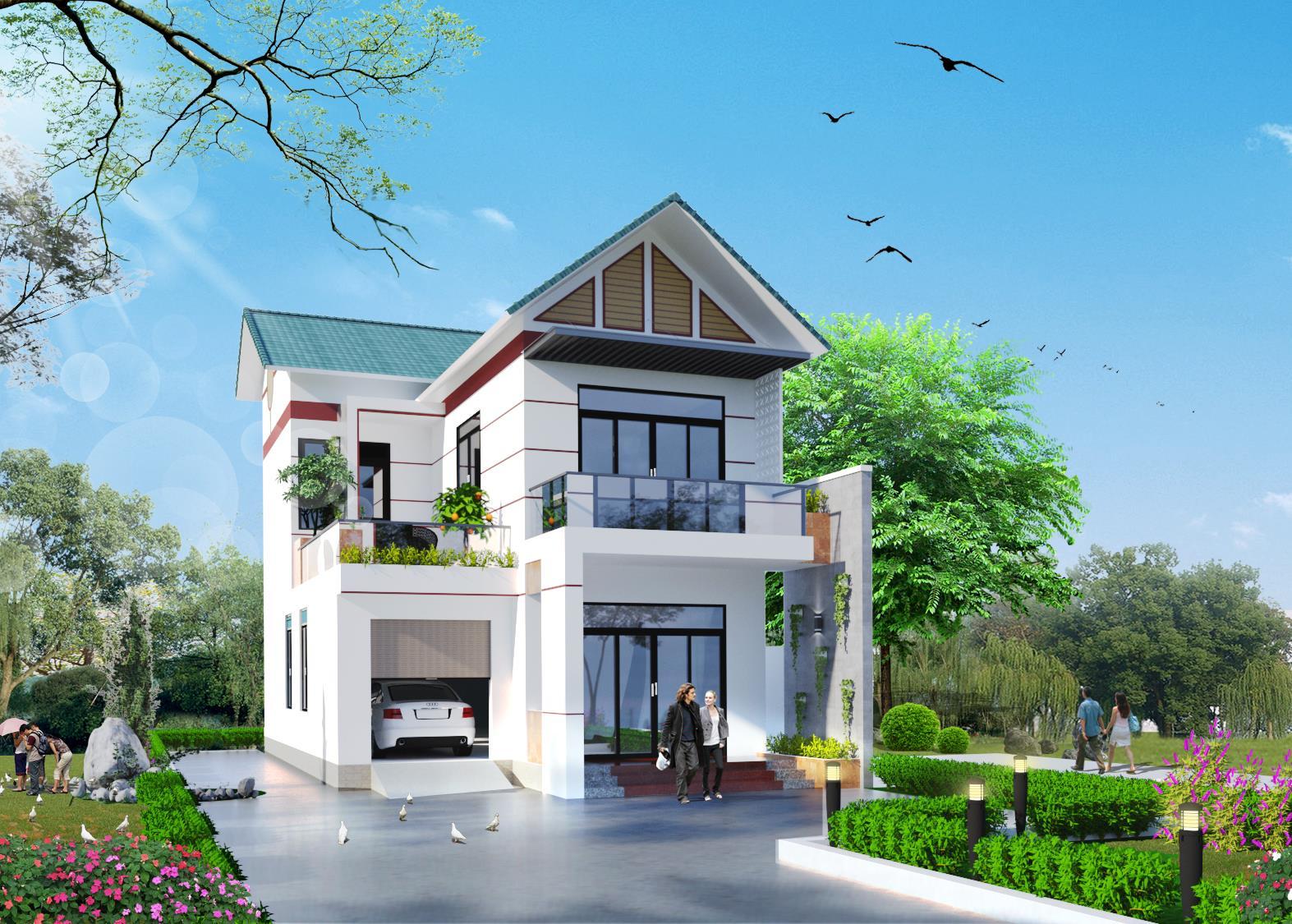 Mẫu nhà 2 tầng mái thái đẹp 8x14m