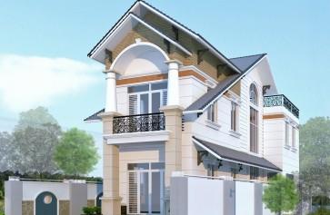 Thiết kế nhà đẹp hai tầng mái thái trên diện tích 6 x21m